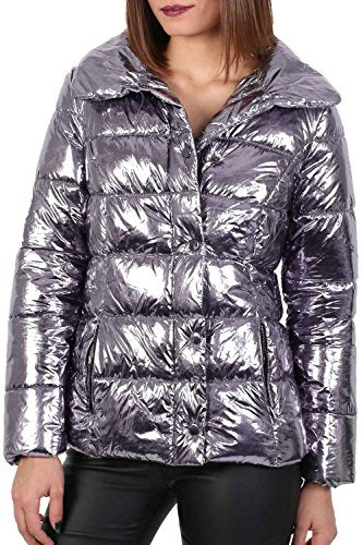 Metallic Faux Fur Collar Puffer Jacket in Silver