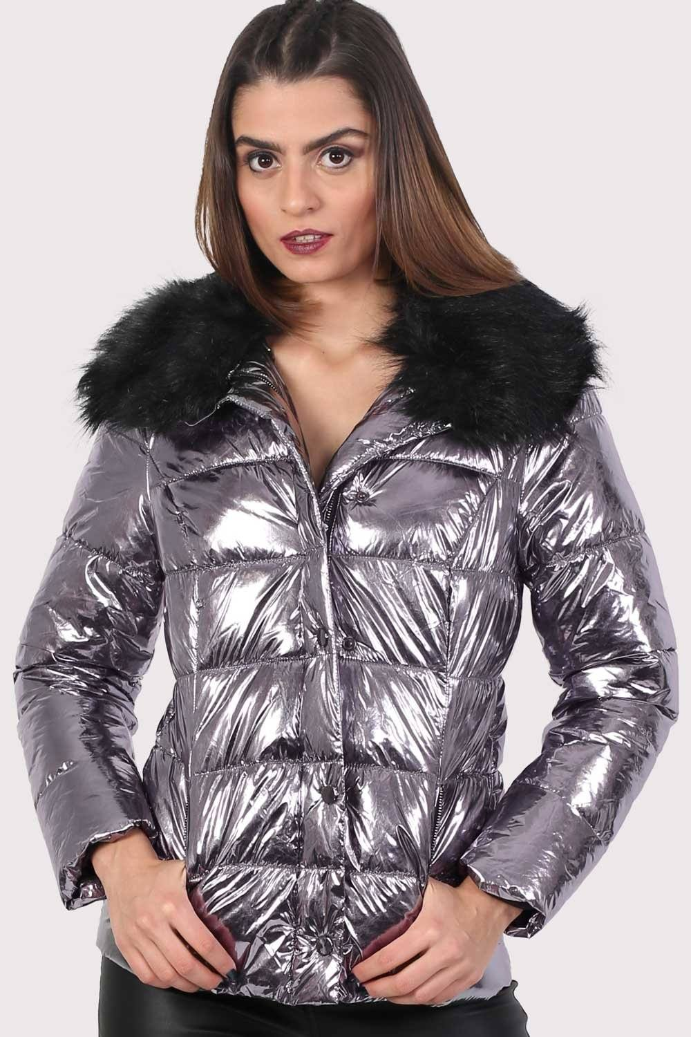 Metallic Faux Fur Collar Puffer Jacket in Silver 1