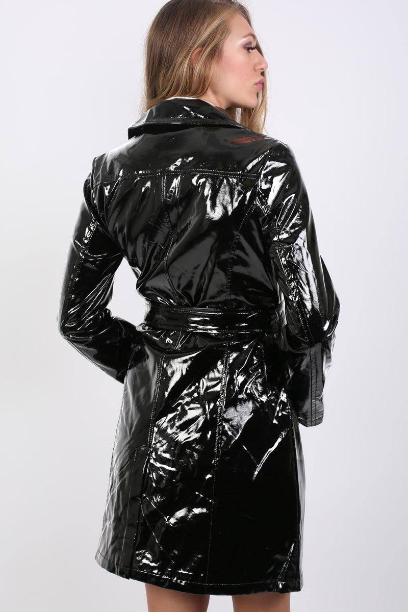 Vinyl Trench Coat in Black 2