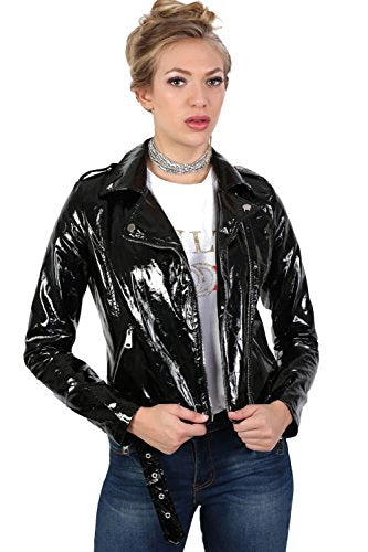 Vinyl Biker Jacket in Black
