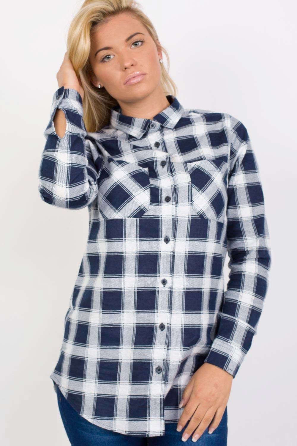 Brushed Check Shirt in Navy Blue MODEL FRONT