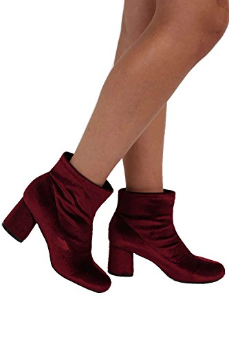 Velvet Block Heel Ankle Boots in Wine Red