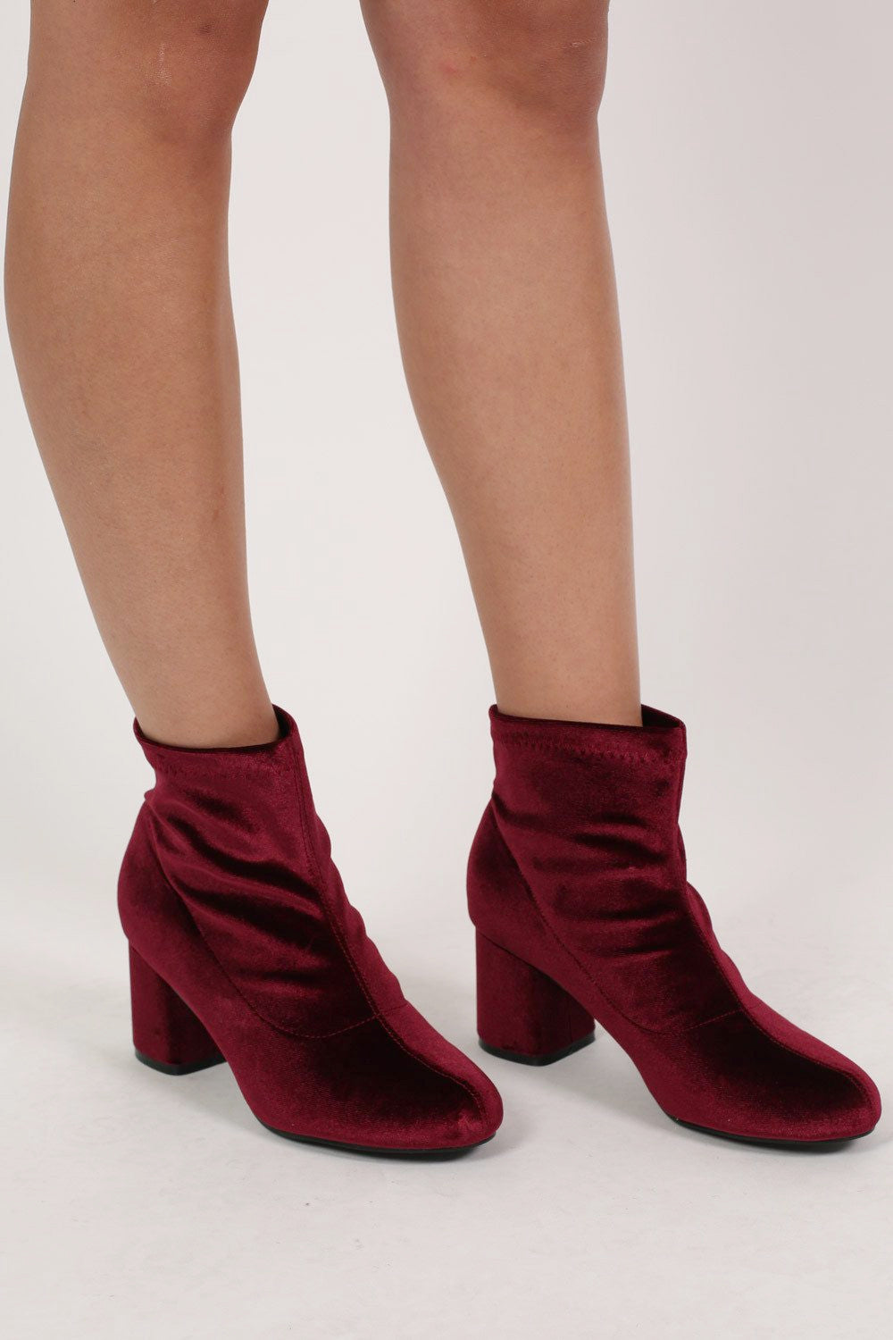 Velvet Block Heel Ankle Boots in Wine Red MODEL FRONT