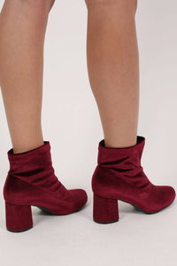 Velvet Block Heel Ankle Boots in Wine Red MODEL BACK