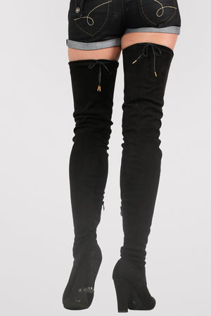 Faux Suede Over The Knee High Heel Boots in Black MODEL BACK