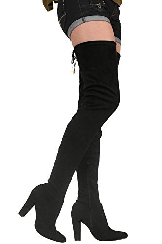 Faux Suede Over The Knee High Heel Boots in Black