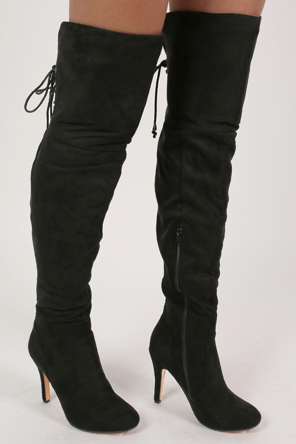 Faux Suede Over The Knee Stiletto High Heel Boots in Black MODEL SIDE