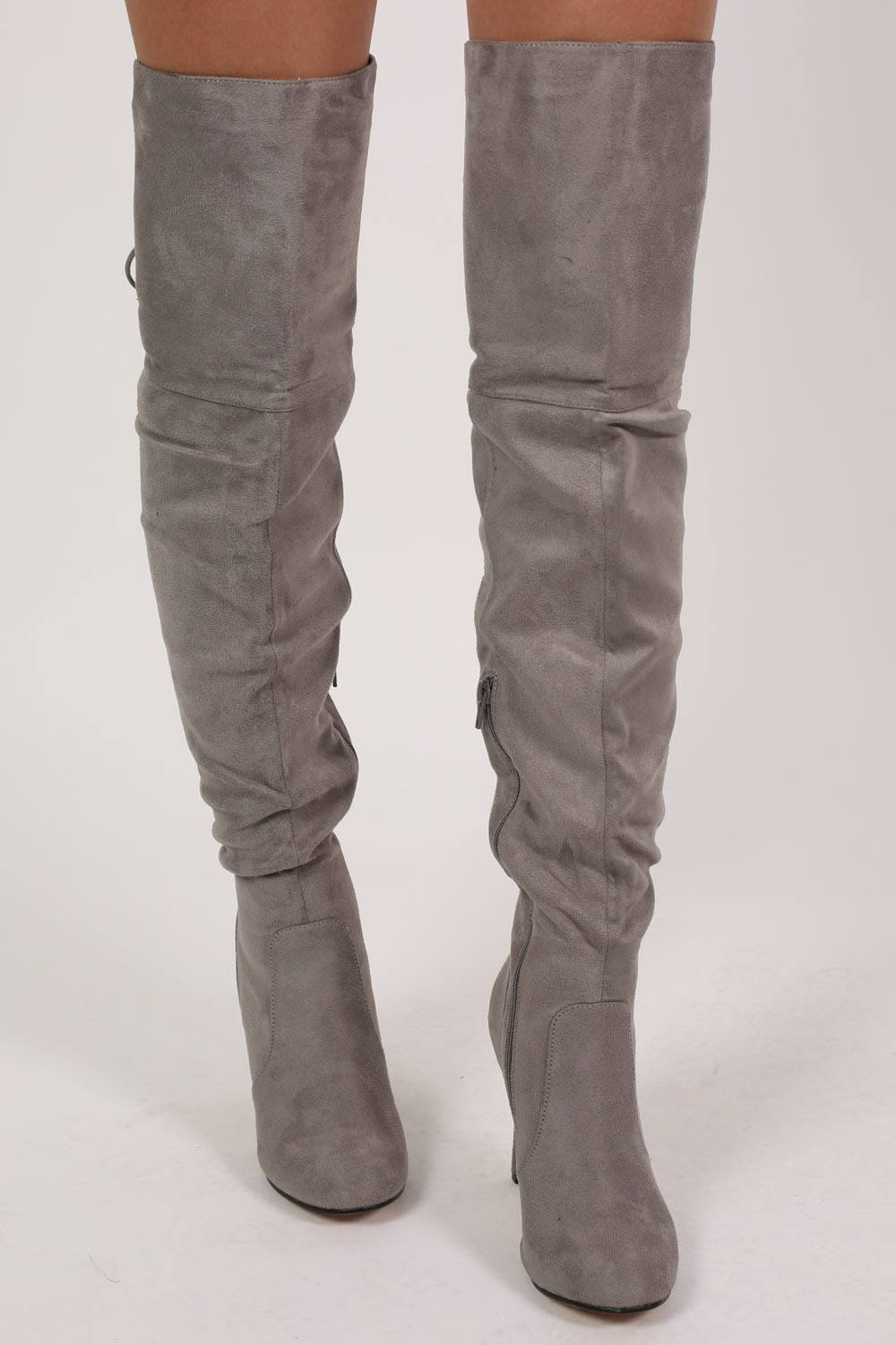 Faux Suede Over The Knee Stiletto High Heel Boots in Grey MODEL FRONT