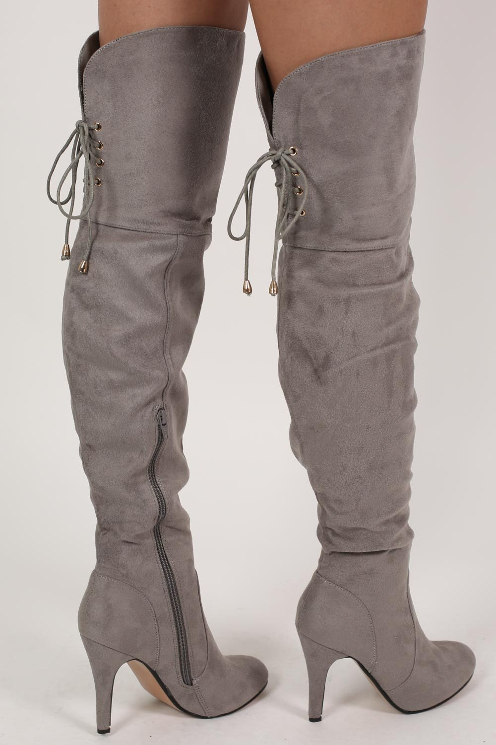 de9a3803aa8b Faux Suede Over The Knee Stiletto High Heel Boots in Grey MODEL BACK