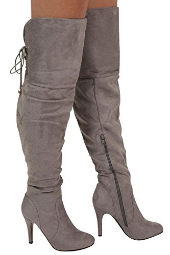 Faux Suede Over The Knee Stiletto High Heel Boots in Grey