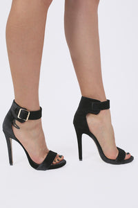 Velvet Ankle Strap High Heel Sandals in Black 2