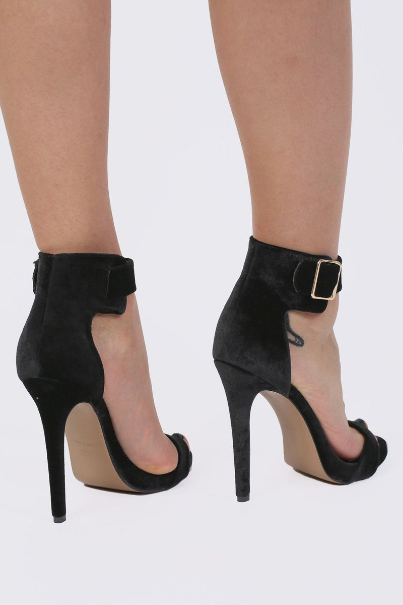 Velvet Ankle Strap High Heel Sandals in Black 3
