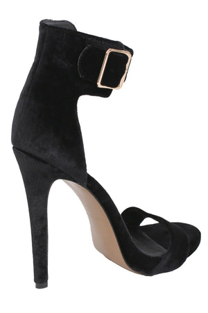 Velvet Ankle Strap High Heel Sandals in Black 6