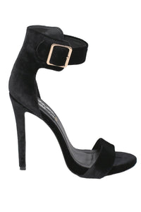 Velvet Ankle Strap High Heel Sandals in Black 5