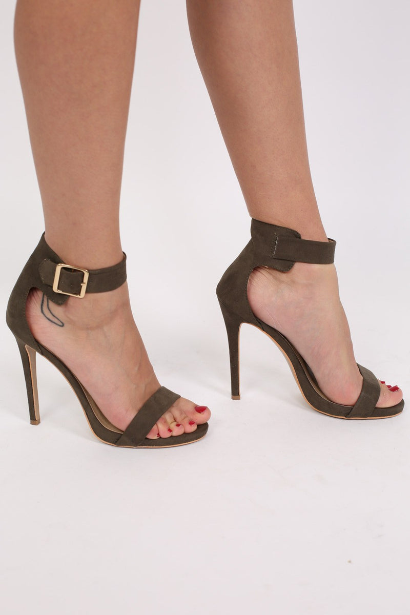 Faux Suede Strappy High Heel Sandals in Khaki Green MODEL SIDE