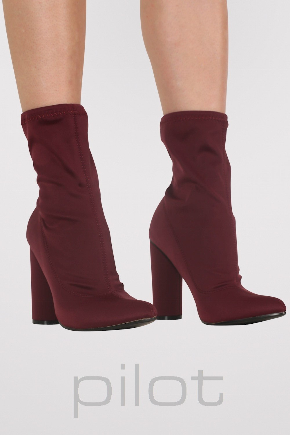Pointed Toe Neoprene Block Heel Ankle Boots in Wine Red MODEL FRONT