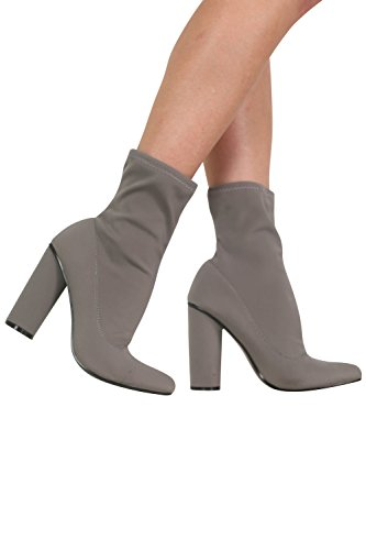 Pointed Toe Neoprene Block Heel Ankle Boots in Grey