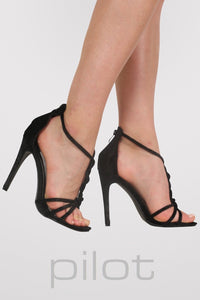 Velvet Twist Strap Slinky High Heel Sandals in Black MODEL SIDE