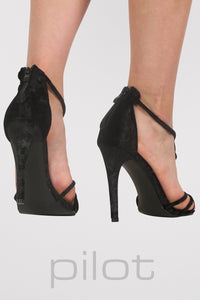 Velvet Twist Strap Slinky High Heel Sandals in Black MODEL BACK