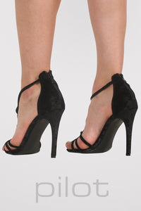 Velvet Twist Strap Slinky High Heel Sandals in Black MODEL BACK 2
