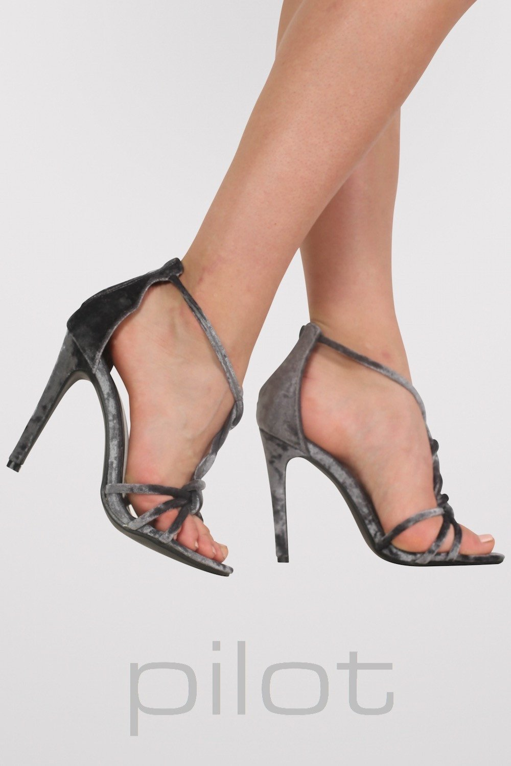 Velvet Twist Strap Slinky High Heel Sandals in Grey MODEL SIDE