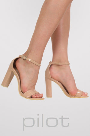Block Heel Patent Barely There Strappy Sandals in Mocha Brown 1
