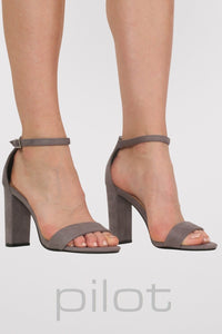 Faux Suede Block Heel Barely There Strappy Sandals in Light Grey 0