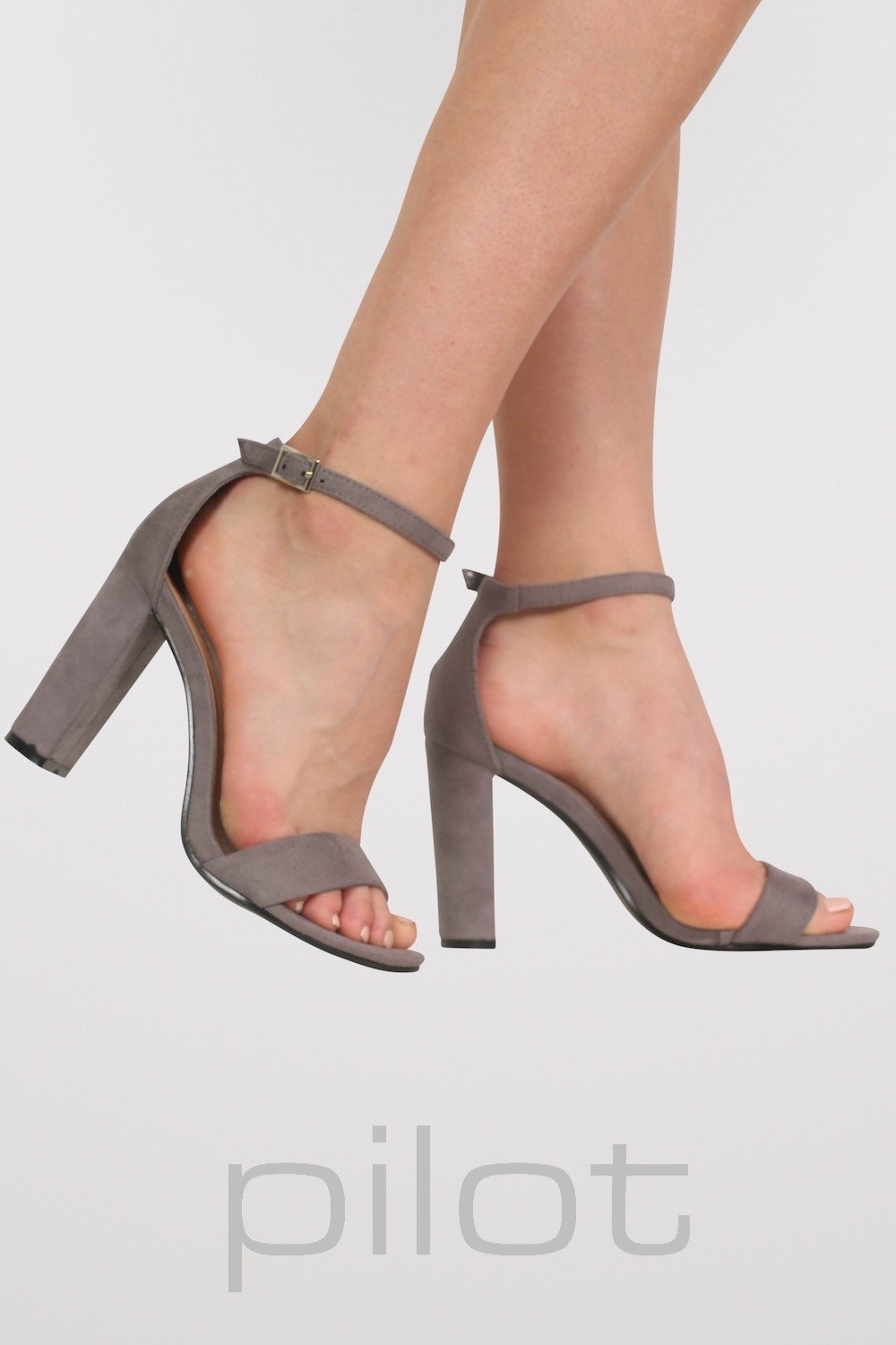 b61090bc8a8 Faux Suede Block Heel Barely There Strappy Sandals in Light Grey 1