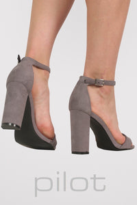 Faux Suede Block Heel Barely There Strappy Sandals in Light Grey 2