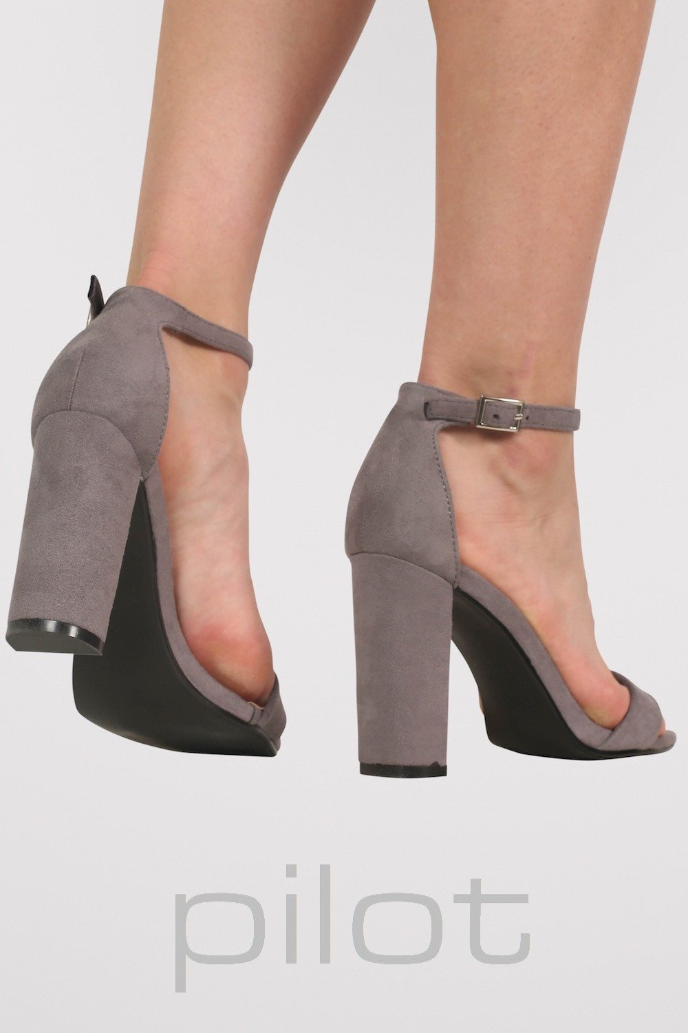 07e8ffed263 Faux Suede Block Heel Barely There Strappy Sandals in Light Grey 2