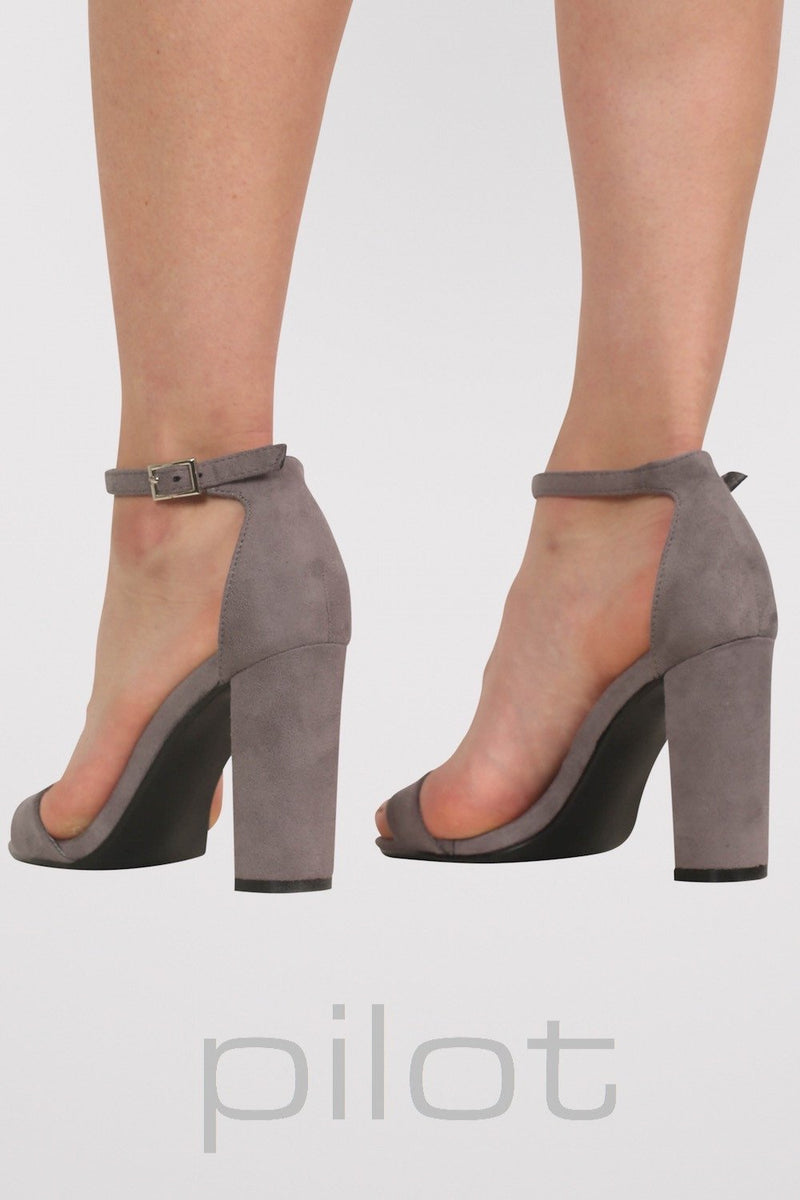 Faux Suede Block Heel Barely There Strappy Sandals in Light Grey 3