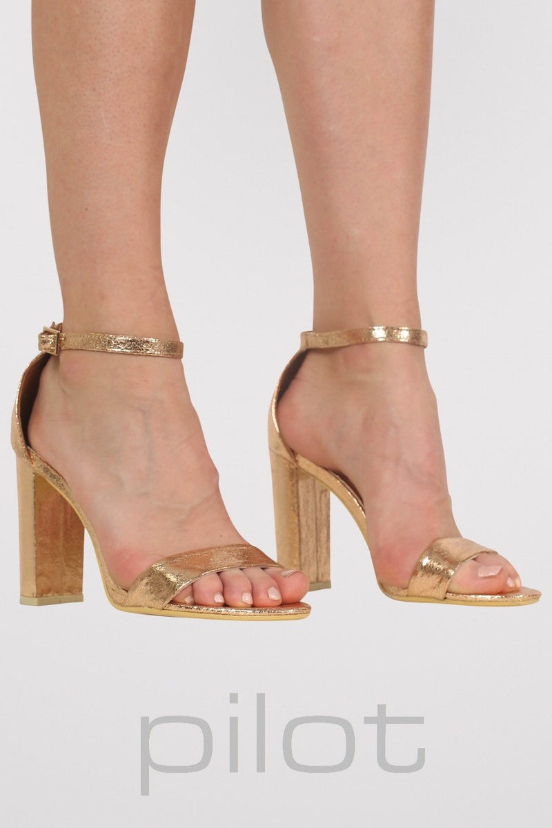 Block Heel Barely There Strappy Sandals in Rose Gold MODEL FRONT
