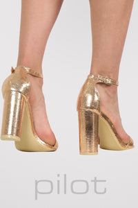 Block Heel Barely There Strappy Sandals in Rose Gold MODEL BACK
