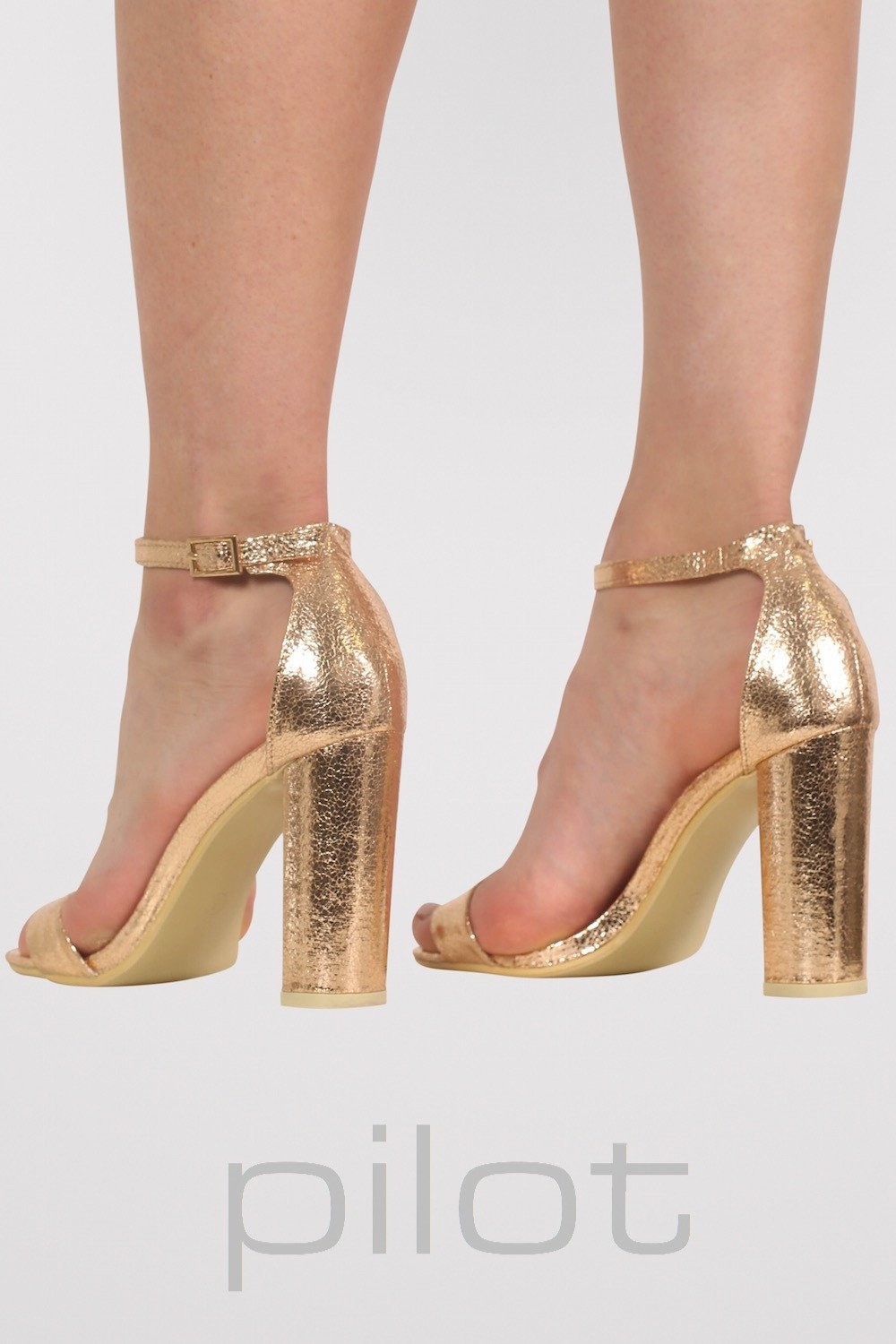 9ceeaf4eb1e3 Block Heel Barely There Strappy Sandals in Rose Gold MODEL BACK 2