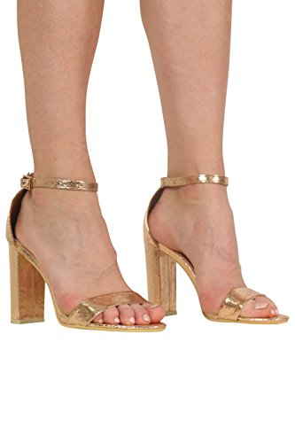 Block Heel Barely There Strappy Sandals in Rose Gold