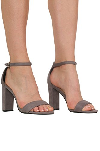 Faux Suede Block Heel Barely There Strappy Sandals in Light Grey