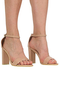 Block Heel Patent Barely There Strappy Sandals in Mocha Brown