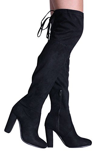 Faux Suede Block High Heel Over The Knee Boots in Black