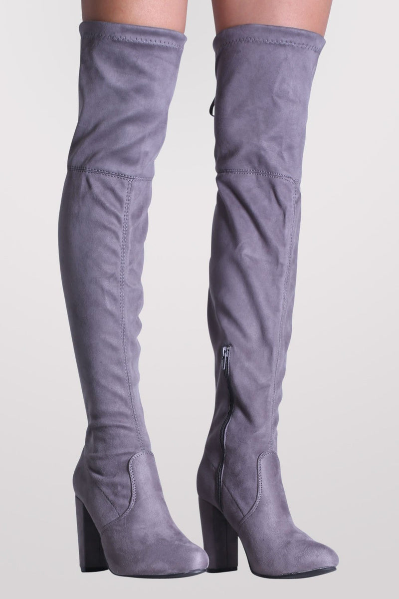Faux Suede Block High Heel Over The Knee Boots in Grey MODEL FRONT