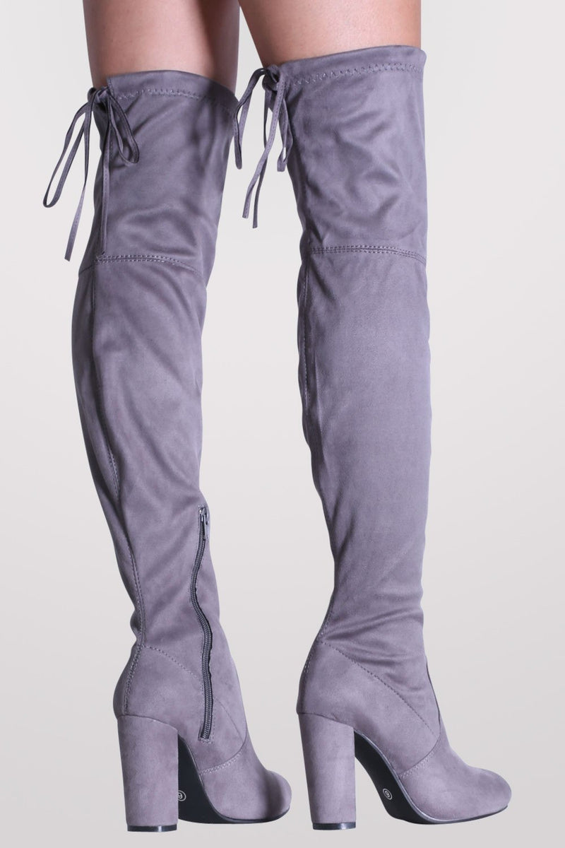 Faux Suede Block High Heel Over The Knee Boots in Grey MODEL BACK
