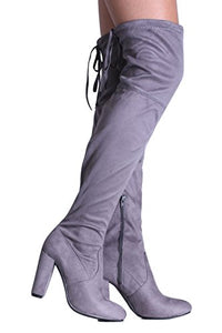 Faux Suede Block High Heel Over The Knee Boots in Grey