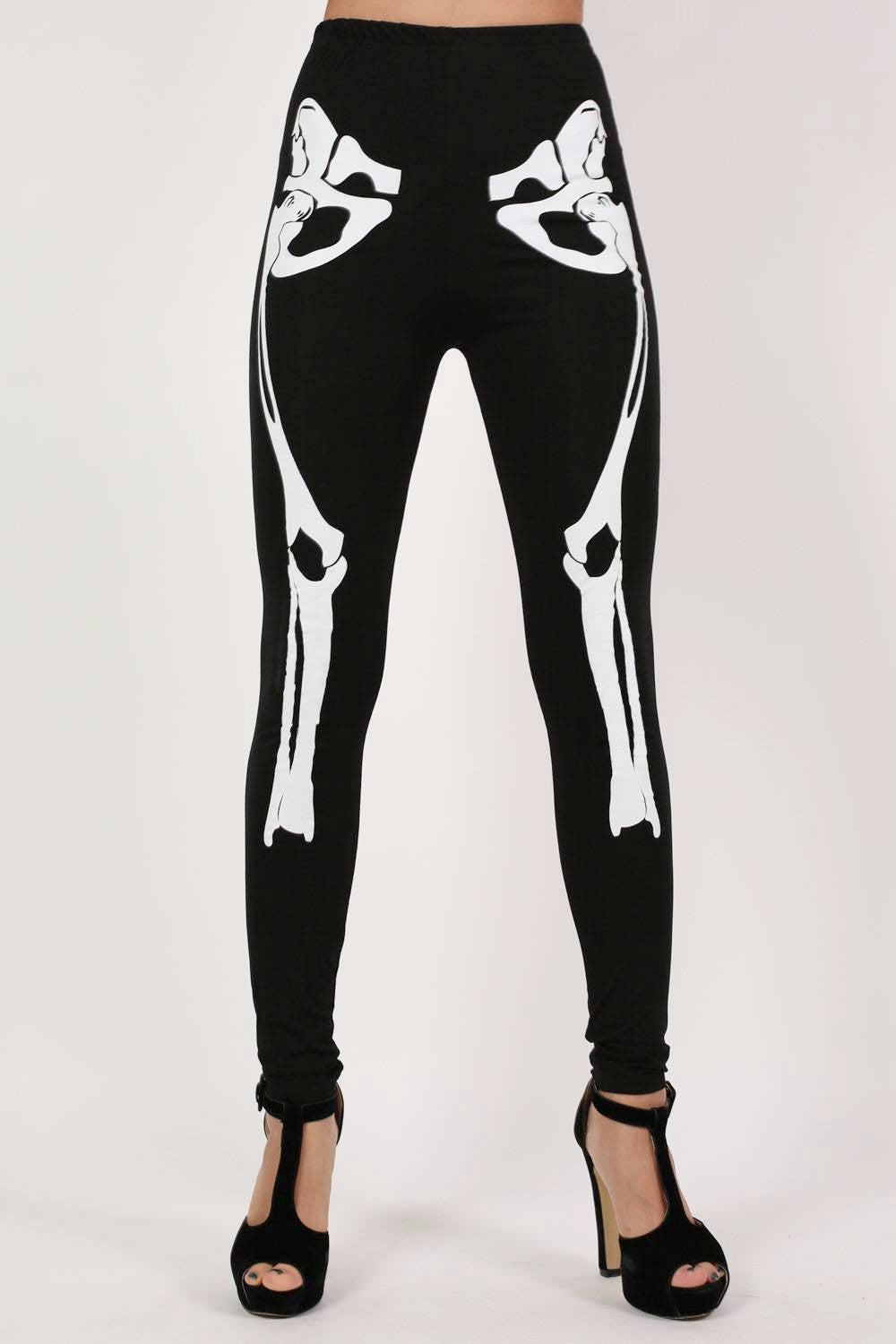 Skeleton Leggings in Black MODEL FRONT 2