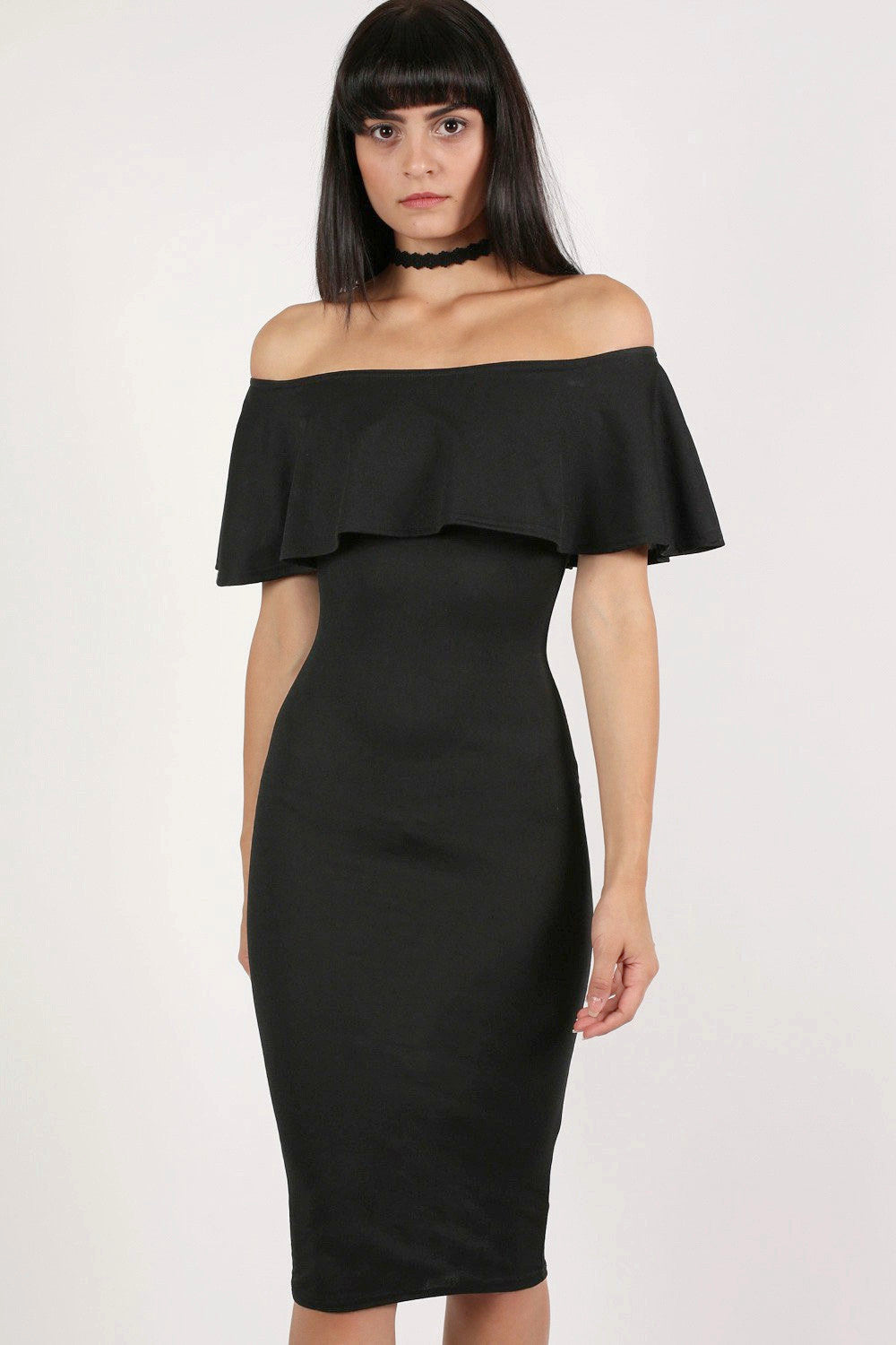 Off Shoulder Deep Frill Bodycon Midi Dress in Black MODEL FRONT