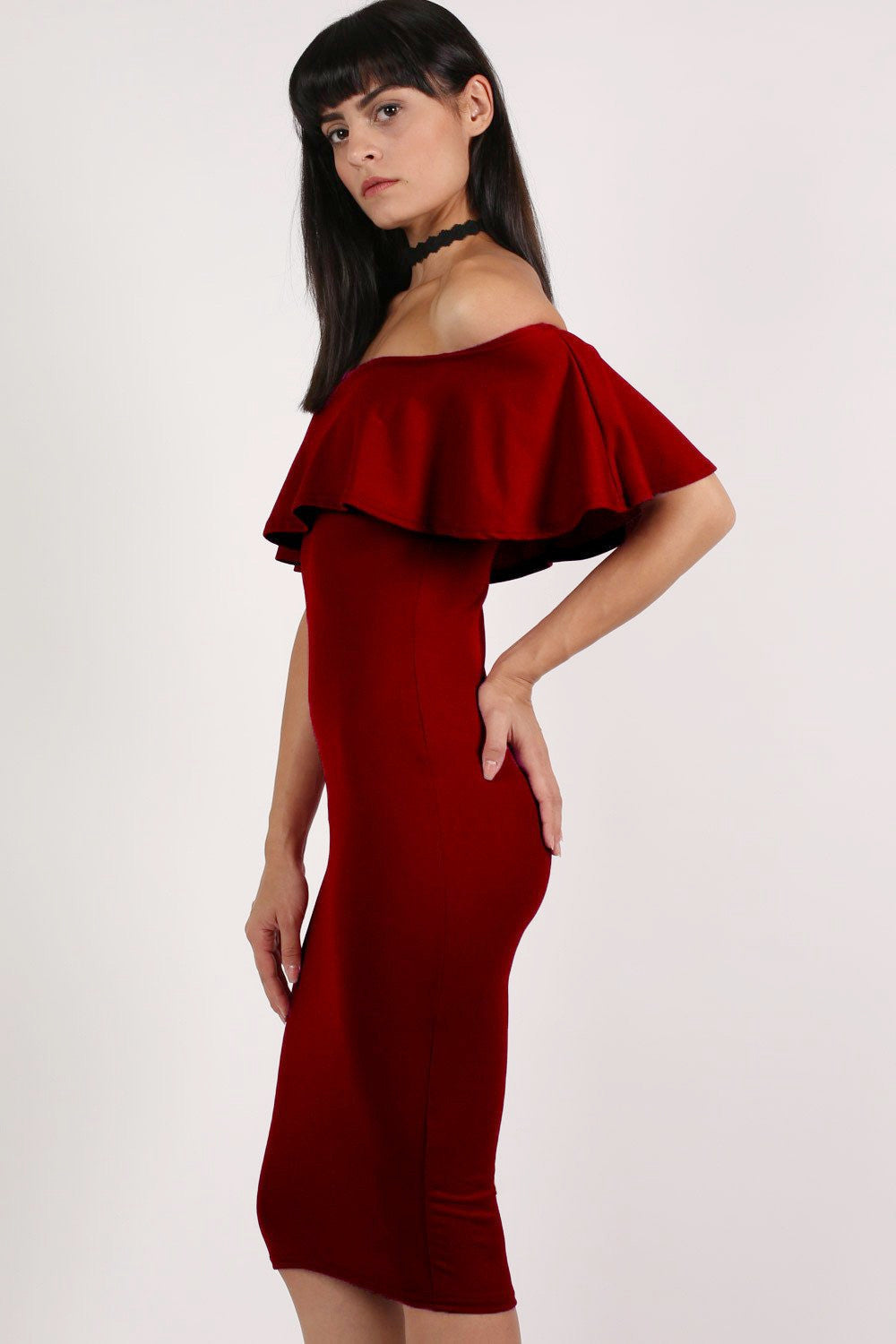6f1d16be4969 Off Shoulder Deep Frill Bodycon Midi Dress in Burgundy Red MODEL SIDE