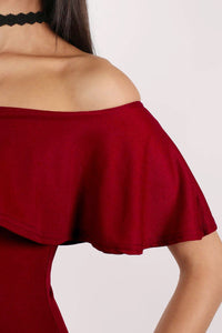 Off Shoulder Deep Frill Bodycon Midi Dress in Burgundy Red MODEL CLOSE UP