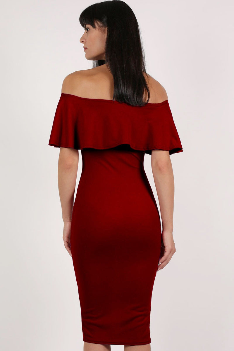 Off Shoulder Deep Frill Bodycon Midi Dress in Burgundy Red MODEL BACK