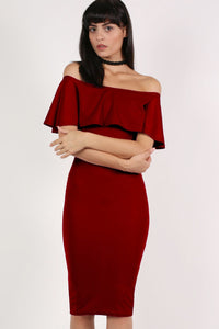 Off Shoulder Deep Frill Bodycon Midi Dress in Burgundy Red MODEL FRONT 2