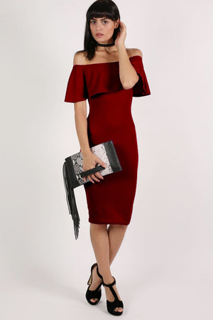 Off Shoulder Deep Frill Bodycon Midi Dress in Burgundy Red MODEL FRONT 3