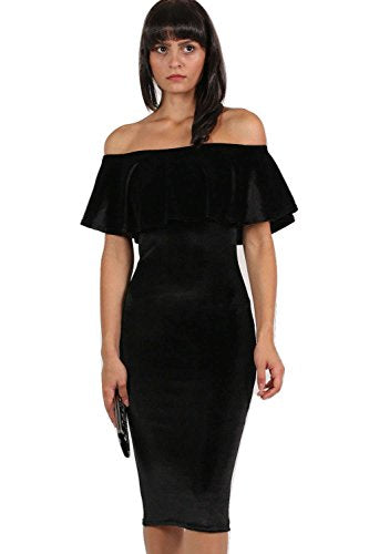 Velvet Off Shoulder Bodycon Midi Dress in Black