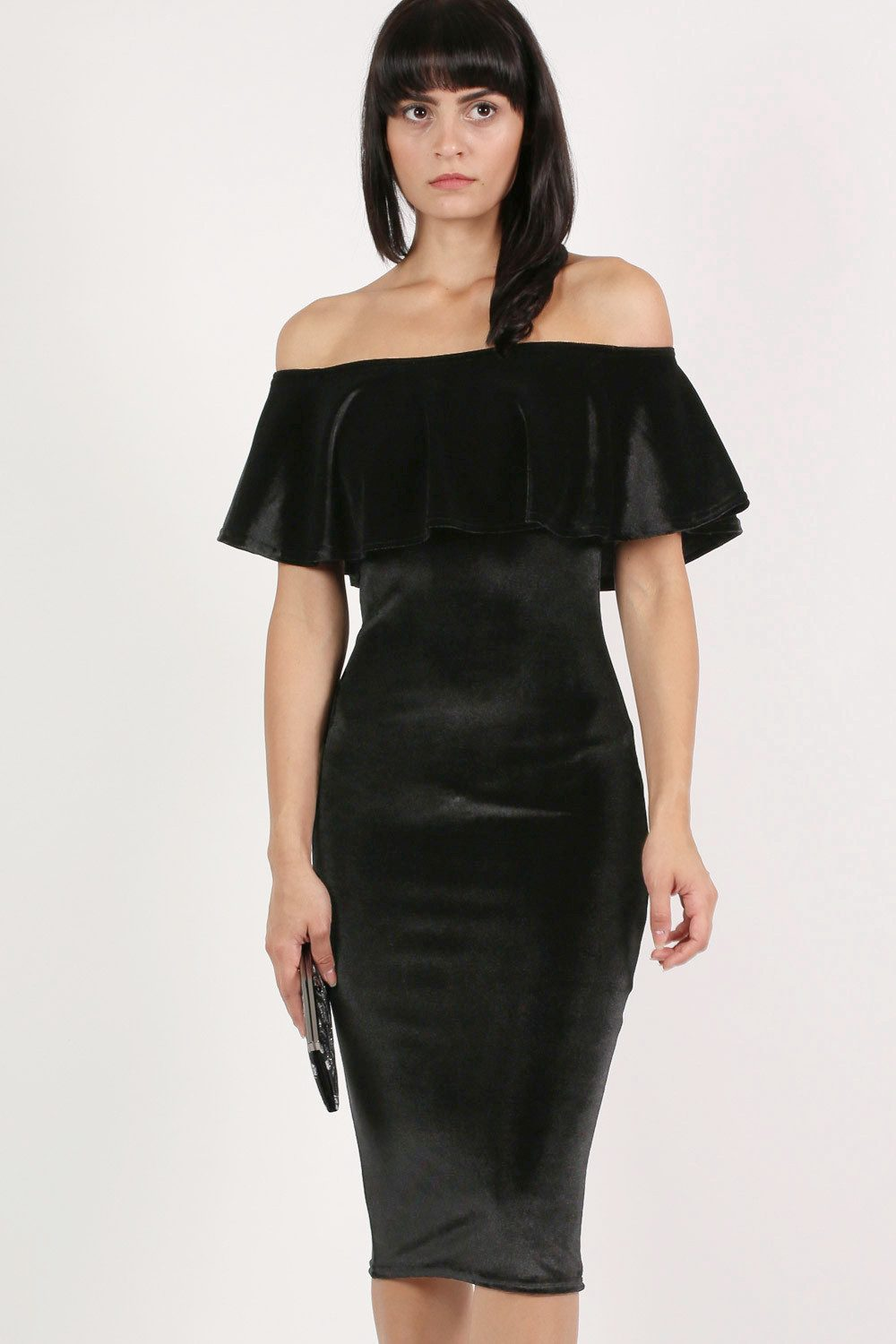 Velvet Off Shoulder Bodycon Midi Dress in Black MODEL FRONT
